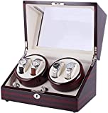 YLLN Automatic Watches Winder, Uhrenbeweger Watch Rotator Single Watch Winder Painted Sandalwood...