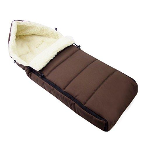BAMBINIWELT universaler Winterfußsack (108cm), auch geeignet für Babyschale, Kinderwagen, Buggy, aus Wolle UNI liniert BRAUN