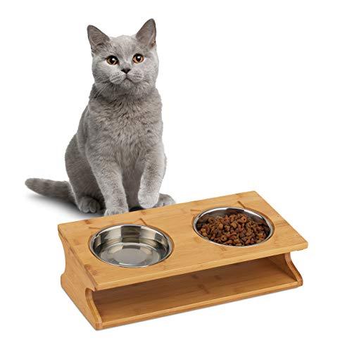 Relaxdays Napfstation, Katzen & kleine Hunde, 2 Näpfe je 300 ml, erhöht, Bambus & Edelstahl, 12x39x19,5 cm, natur/silber