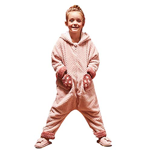 Hh001 Kinder-Pyjamas Coral Fleece Girls-Pyjamas Winter-Pyjamas Flanell-Service-Set (Color : PINK, Size : 130CM (L Code))