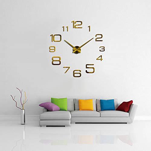 Kreative Digitale DIY Wanduhr Trompete Gold im europäischen Stil, Creative Digital DIY Wanduhr Spiegel Wanduhr Home Decoration