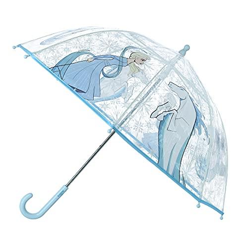 Textiel Trade Paraguas de palo transparente con estampado de Elsa y caballo para niños Frozen II