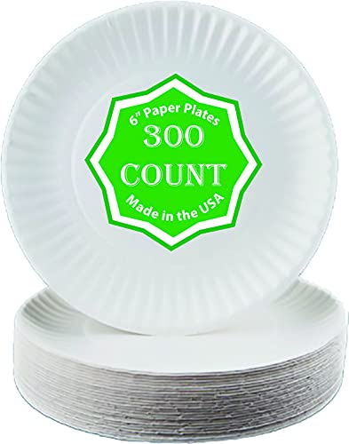 """Perfectware - Kitchen essentials Paper Plate 6-300 6"""" Paper Plate, White (100 Count/pack) (Pack of 3)"""