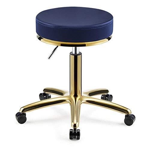 Preisvergleich Produktbild Höhenverstellbarer Stuhl mit RollenKosmetikstuhl mit Blau PU Kunstleder Bezogener Sitzhöhenverstellbar 45-55 cmbis 160kgStühle für Office Bar Friseur Maniküre Tattoo Therapie Schönheitsmassage Sp