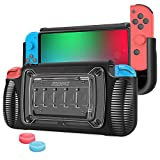 SZMDLX Protective Case for Nintendo Switch, TPU Grip Protective Cover Case for Nintendo Switch with Adjustable Stand, 7 Game Card Slots, 2 Thumb Grips Caps (Grey)