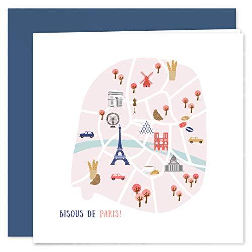 Cartes Postales de Paris • Format Premium 14x14cm Plié • Lot de 8 • Enveloppes Bleues Incluses • Popcarte