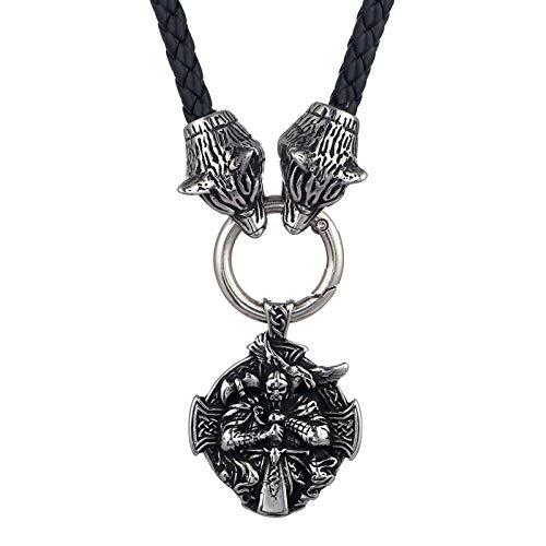 Collar Norte Europa Weijing Wolf Head, Otadine Ax. Cuervo colgante, joyería de los hombres, religión