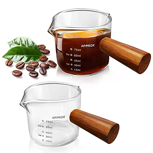 FOVERN1 2 Pack Double Spouts Measuring Cup with Wooden Handle, Milk Cup 75ML, Espresso Shot Glasses Triple Pitcher Barista Double Spouts Clear Glass