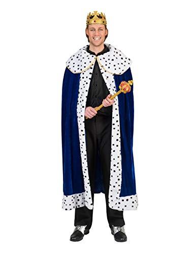 TrendClub100® Royal König Cape Umhang Kostüm für Erwachsene (E, blau)