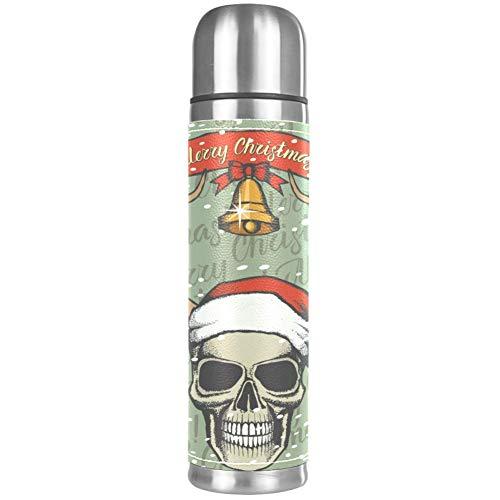 Thermos ThermoCafé Botella térmica aislada,Colorido Patrón de Navidad Ho Ho Ho,Frasco de Vacío de Acero Inoxidable 500 ml