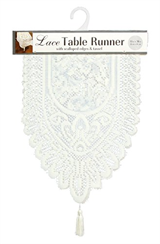 Ritz Lace Table Cloth Runner, 13 x 36 in, Ivory
