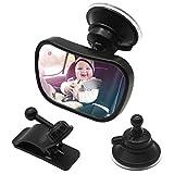 Espejo de asiento trasero para bebés en el automóvil, Asiento de automóvil a prueba de golpes Espejo retrovisor ajustable 360 °, Espejo de bebé seguro con ventosa y clip de marco Espejo de automóvil