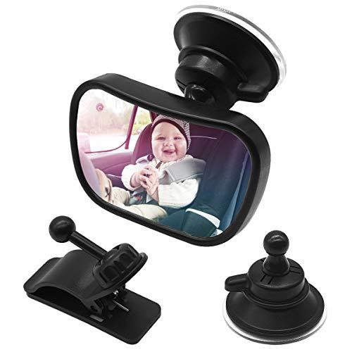 Espejo de asiento trasero para bebés en el automóvil,  Asiento de automóvil a prueba de golpes Espejo retrovisor ajustable 360 ##°,  Espejo de bebé seguro con ventosa y clip de marco Espejo de automóvil