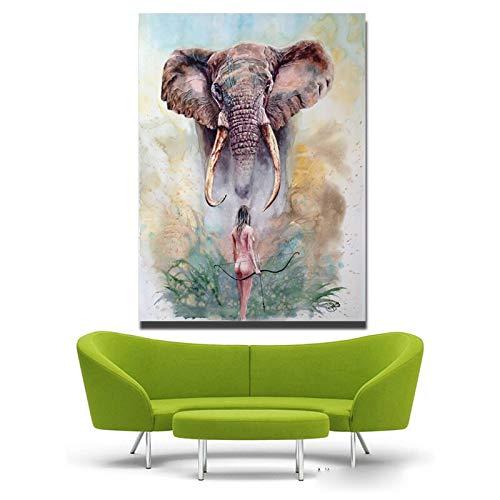Puzzle 1000 piezas Arte elefante y niña cuadros pintura animal moderna poder humano puzzle 1000 piezas Juego de habilidad para toda la familia, colorido juego de ubicación.50x75cm(20x30inch)