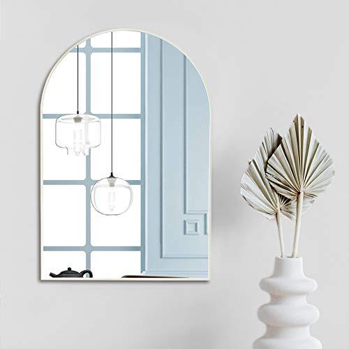Muzilife Espejo de pared grande con marco de metal blanco, espejo con soporte para colgar en el salón y el baño, 60 x 90 cm