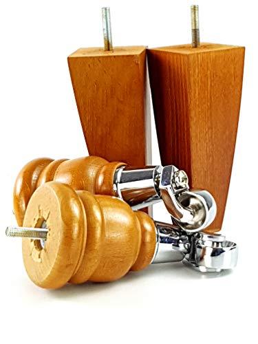 2 x goldene Eiche, 155 mm hoch, Holz-Möbelbeine mit Ersatzrollen aus Chrom und 2 Rückenlehnenstühle, Sofas M8 (8 mm) TSP2007