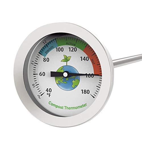 ORETG45 Termómetro de compost, herramienta de medición de suelo, acero inoxidable 304, mide la temperatura del suelo de abono