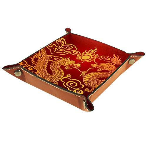 Kleine Aufbewahrungsbox,Herren-Valet-Tablett,Traditioneller chinesischer Drache,Leder Catchall Organizer für Coin Box Key Schmuck