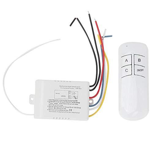 Interruptor y receptor de luz inalámbricos, interruptor remoto digital de pared para ventiladores para luz LED para luces de techo
