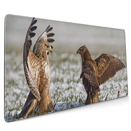 Rubberen voet muismat vogels valk vleugels strijd sneeuw winter 15,7 x 35,4 inch