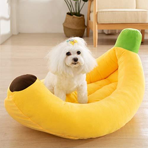 HANHAN Cute Wicker Personalised Dog Bed Banana Sleep Basket Calming Anti Anxiety Cushion Medium Extra Large Sofa Washable Comfort Soft Orthopedic Small Cuddler Fluffy