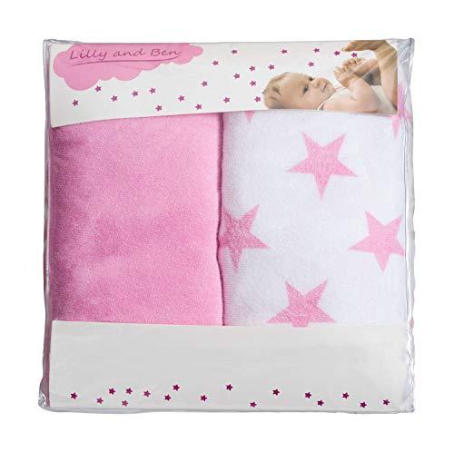 Lilly and Ben® 2x Funda para cambiador bebe - 2 fundas para colchoneta cambiador funda bañera 50x70 50x80 toalla ajustable a cambiadores
