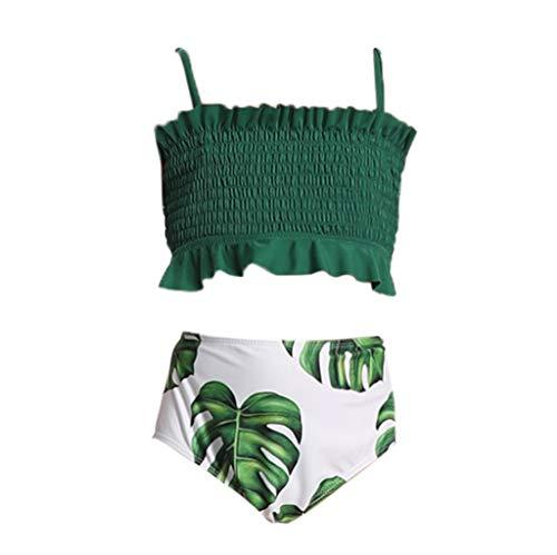 Kids Baby Girls Swimwear Penguin Print Ruffle Sleeveless Two Piece Swimsuits Beach Wear Romper with Hat Green
