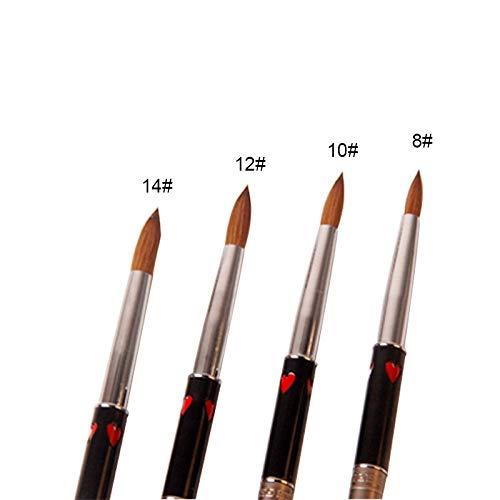 WATERMELON Brosse à Ongles Exquis rétro Acrylique Design Poignée en métal Nail Art Outil avec Le Coeur Rouge Antique Style Nail Art Pen # 14 (Color : Size 14)