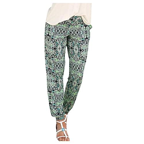 Pantalones de Verano Mujer con Estampado Frescos Pants de Casual Pants Harem Boho de Impreso Cintura de Cordón Pantalon hippie Mujeres