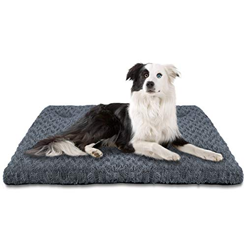 INVENHO Dog Bed Kennel Crate pad Comfortable Soft Anti Slip Washable for Large Medium Small Dogs Blue 35''x23'' Bed Mats