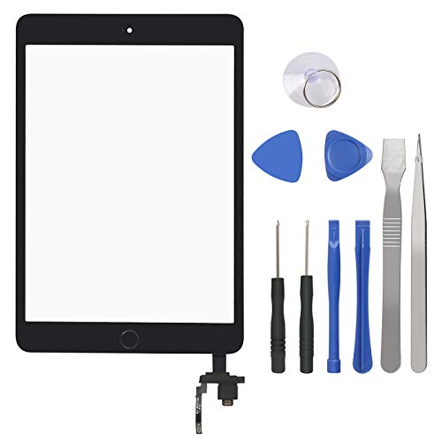 Touch Screen Digitizer for iPad Mini 3-3rd Generation iPad Mini Front Glass Replacement with Home Button & Tool Repair Kit (A1599, A1600) - Black