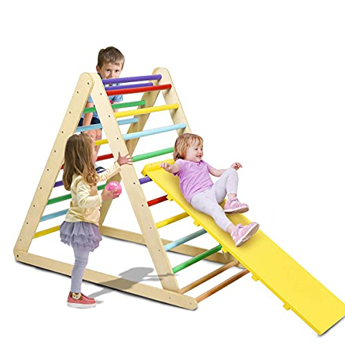 Costzon Foldable Triangle Ladder with Ramp, 3 in 1 Toddler Wooden Activity Climber for Sliding & Climbing, Safety Kids Indoor Play Structure Triangle, Suitable for Children Boys Girls (Rainbow)