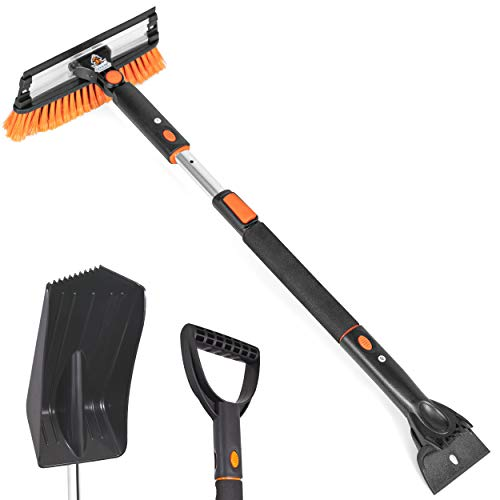 Snow Moover 39  Extendable Snow Brush with Squeegee, Ice Scraper & Emergency Car Snow Shovel - Foam Grip - Auto Window Ice Removal - No Scratch Removal Tool - Trucks SUV - Vehicle Windshield