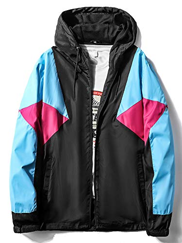 MADHERO Mens Windbreaker Jacket Lightweight 90s Retro Wind Breakers Black Blue Rose Red Size 2XL
