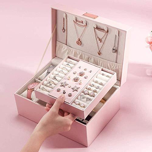Jewelry Box for Women, Organizador de caja de joyería de 2 capas, bandejas extraíbles, para pendientes, collares, anillos, regalo para niñas mujeres - organizador rosa Treasure Treasure Threothet