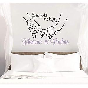 *NEU* Wandaufkleber/Wandtattoo/Wandsticker Schlafzimmer ***You make me happy + Wunschnamen*** (Größen.- und Farbauswahl)