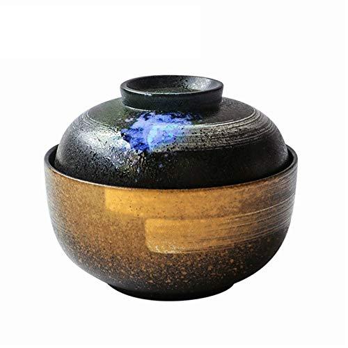 Tazón de cerámica de estilo japonés de 6,5 pulgadas, cuenco de fideos instantáneos, taza de Ramen con tapa (color : B)