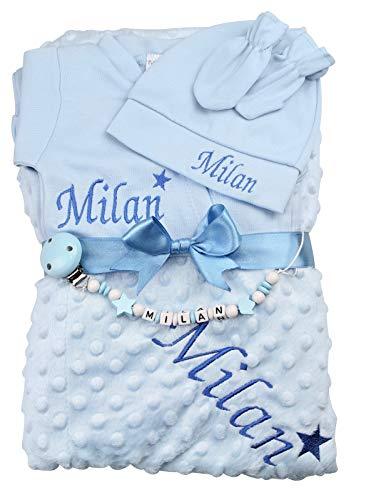 Baby Erstlingsset personalisiert Junge blau