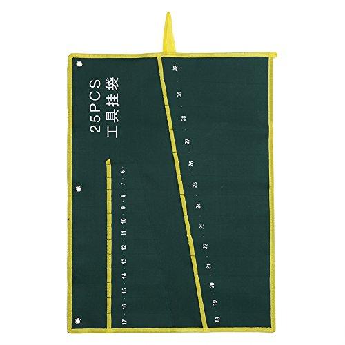 Fdit Roll-Up-Werkzeugtasche mit Maulschlüssel, Zange, Organizer-Tasche aus strapazierfähigem Segeltuch 6/8/10/12/14/25 Taschen, 25Pockets