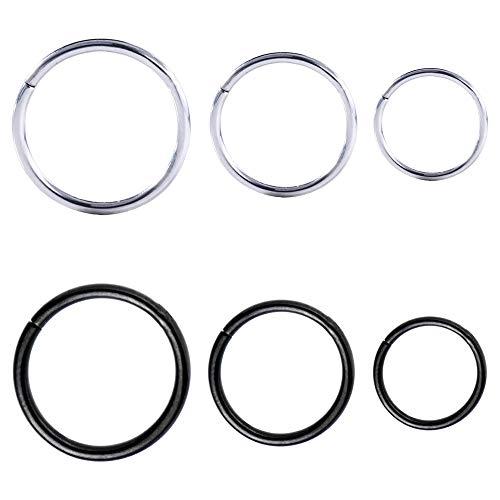 Drawer Props Pack Variado para Oreja y Nariz de 6 Aros de 6mm, 8mm y 10 mm de Acero Quirúrgico Flexible Color Negro y Plata - Pendientes Reales para Oreja - Hipoalergénicos