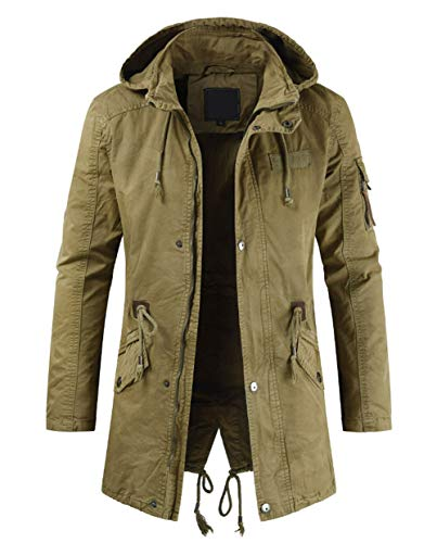 chouyatou Men's Spring Military Full-Zip Removable Hooded Cotton Mid-Long Parka Jacket Coat (Large, Khaki)