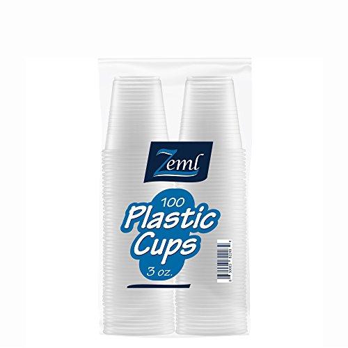 Zeml Disposable Clear Plastic Cups (3 oz. - 100 count)