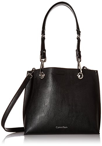 Calvin Klein womens Calvin Klein Faux Leather Reversible East/West Tote, black/grey, One Size