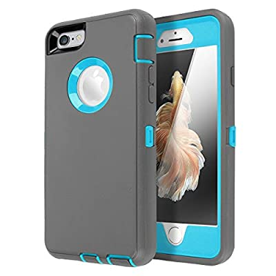 iPhone 6 Case, iPhone 6S Case [Heavy Duty] AICase Built-in Screen Protector Tough 3 in 1 Rugged Shockproof Cover for Apple iPhone 6/6S (Grey/Blue)