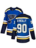 # 90 Jersey de Hockey sobre Hielo St. Louis Blues Hockey Números de Letras Cosidas NHL Sudaderas de Manga Larga Transpirables S-3XL