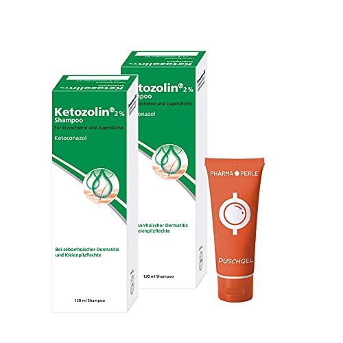 KETOZOLIN 2% Shampoo 2x 120ml Sparset plus gratis Pharmaperle-Duschgel 30ml
