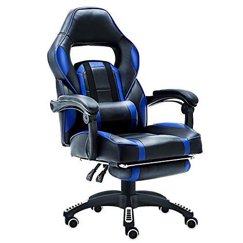 Executive Gaming-bureaustoel voor thuis of op kantoor, draaistoel, in hoogte verstelbaar, ergonomisch voetensteun, ligstoel met lendenkussen en bekleed gaming stoel met massagestoel voor computer
