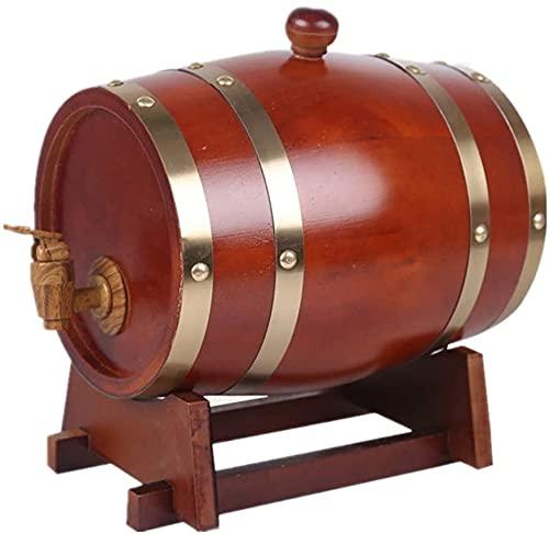 WSVULLD DISPENSADOR DE Piel Oak Barril, Cubo de Almacenamiento de Madera 20L con Soporte Adecuado para la decoración de la Boda o para la Tienda Vinagre de Jugo de Cerveza (Color: Rojo Retro, Tamaño: