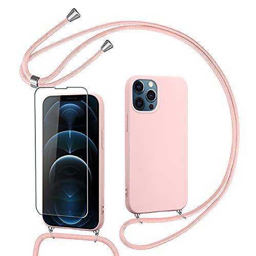 Pnakqil Funda con Cordón de Collar Compatible con iPhone 13 Pro MAX 6.7 + 1 Pieza Protector Pantalla de Vidrio Templado, Funda Protectora de Silicona Suave esmerilada para iPhone 13 Pro MAX-Oro Rosa
