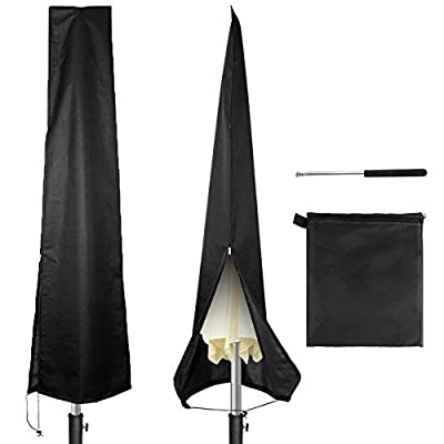 Owlike Umbrella Covers, Patio Waterproof Parasol Covers with Zipper and Telescopic Rod for 7ft to 11 ft Outdoor Umbrellas,Black 420D Oxford Fabric